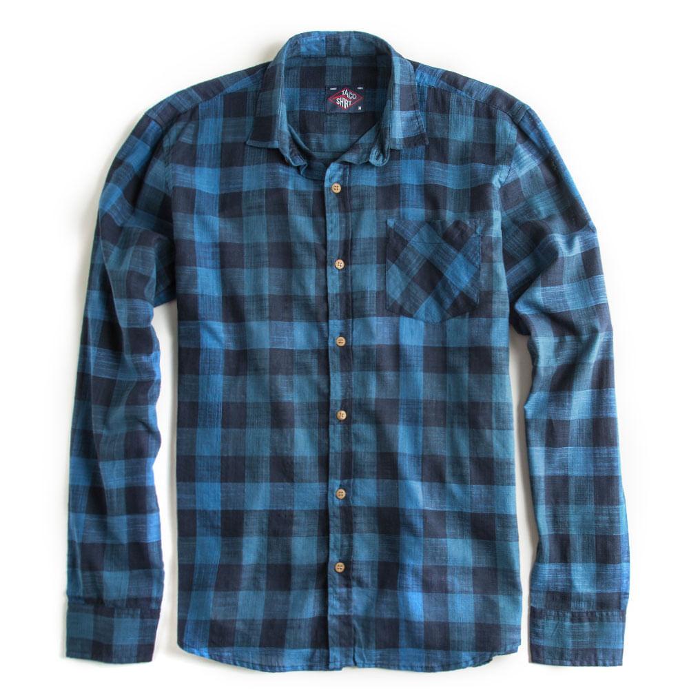 Camisa-Xadrez-Manga-Longa-Azul-Marinho