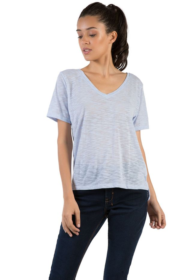 T-shirt-Gola-V-Basica-Flame-Azul-Claro-Feminino