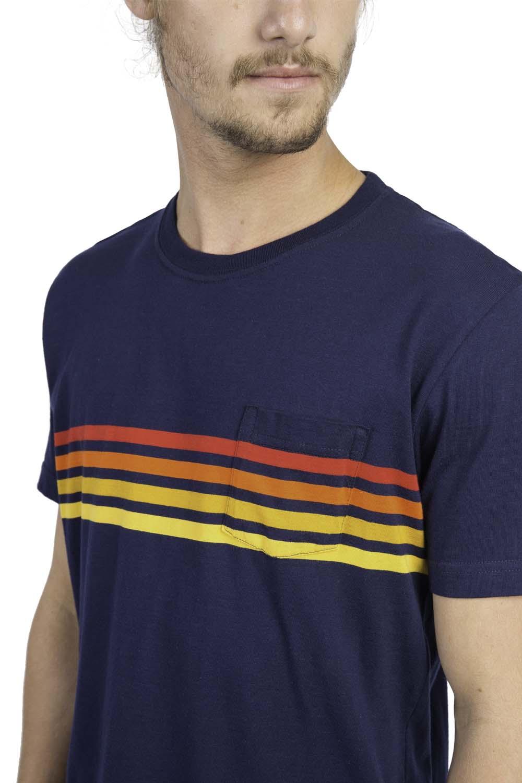 0070d41e06 T-Shirt Com Bolso Listrada Azul Marinho - Taco