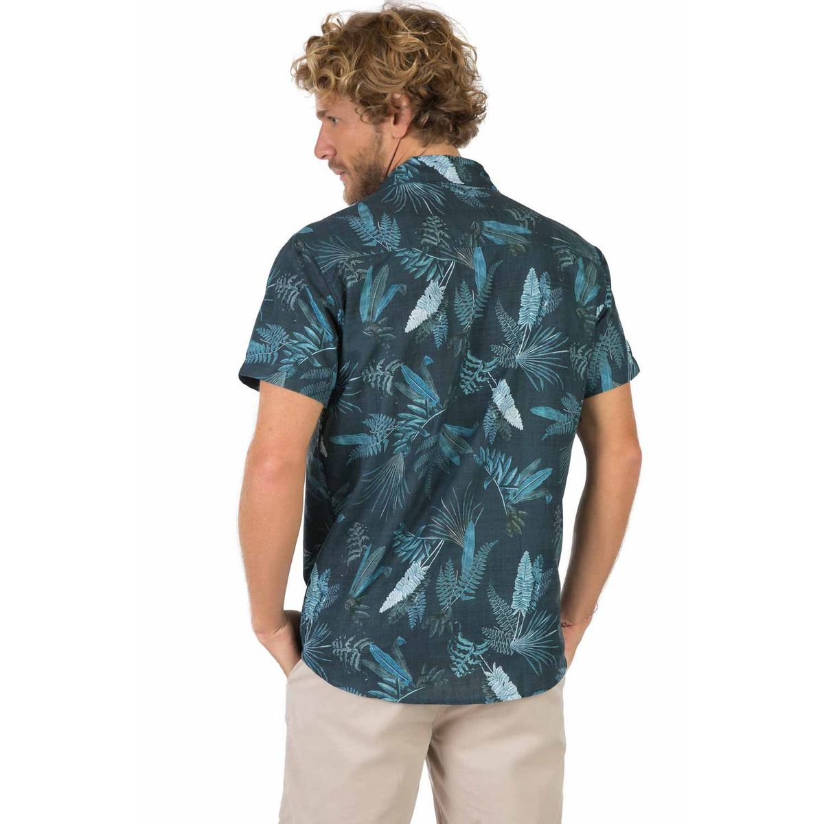 Camisa Estampada Azul Petróleo - Taco b0013300843