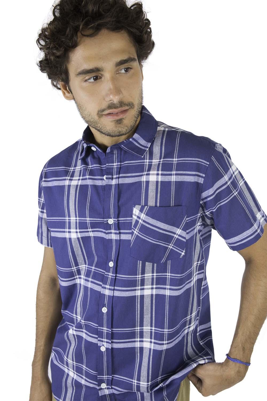 f9a2edf379 Camisa Xadrez Azul Marinho   Off - Taco