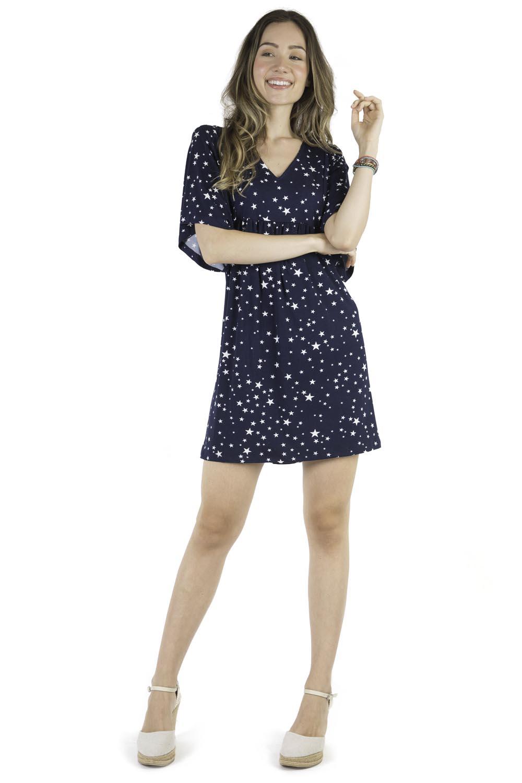 0ac72c571c Vestido Estampado Azul Marinho - Taco