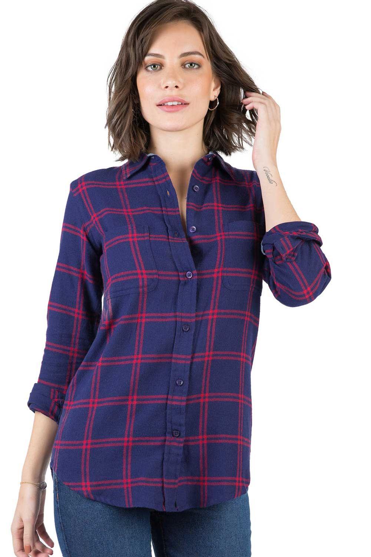 a5b6dee875 Camisa De Tecido Xadrez Azul Marinho/Vermelho - Taco