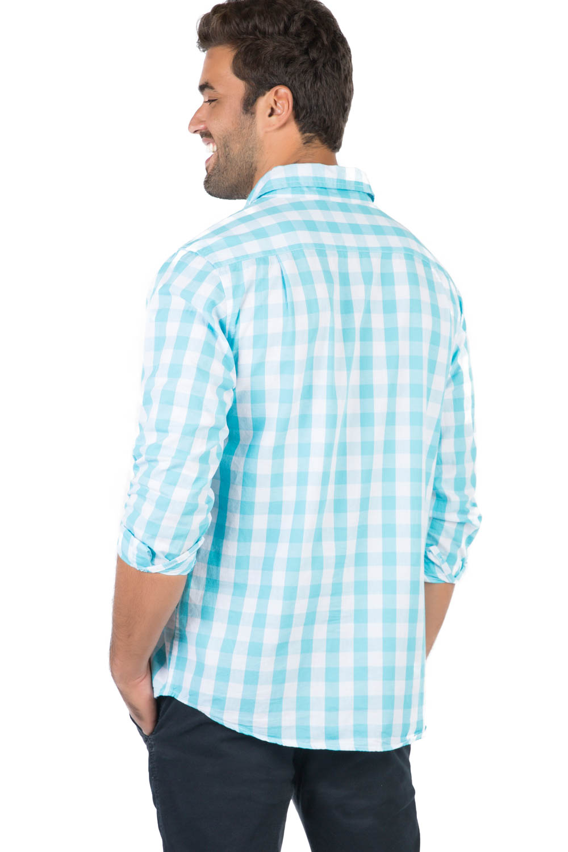 2944e087a4 Camisa Xadrez Manga Longa Azul Claro - Taco